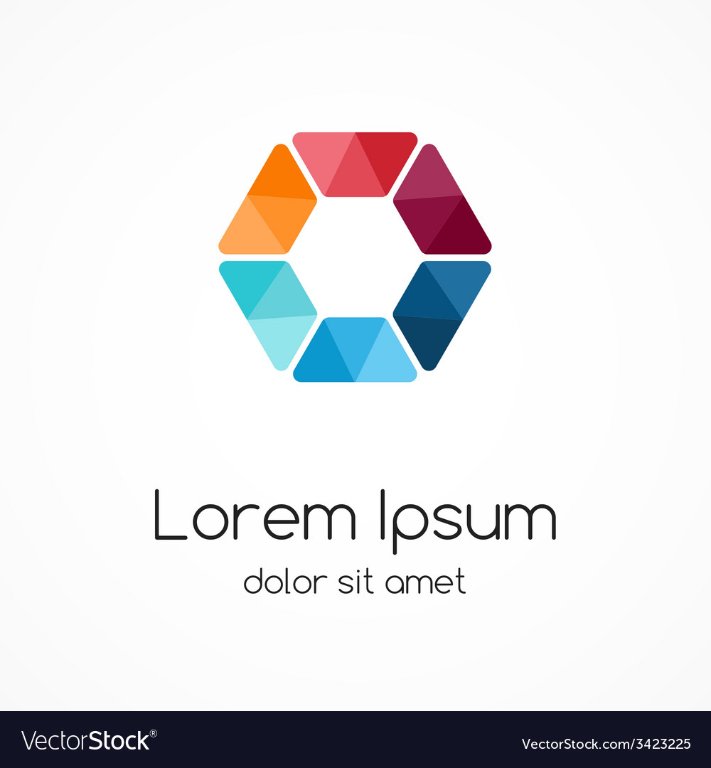 Color logo template hexagon element ymbol vector | Price: 1 Credit (USD $1)