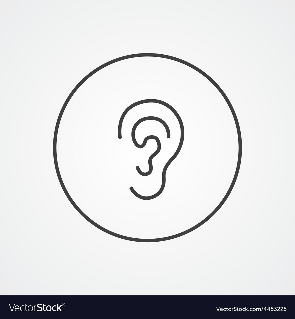 Ear outline symbol dark on white background logo vector | Price: 1 Credit (USD $1)