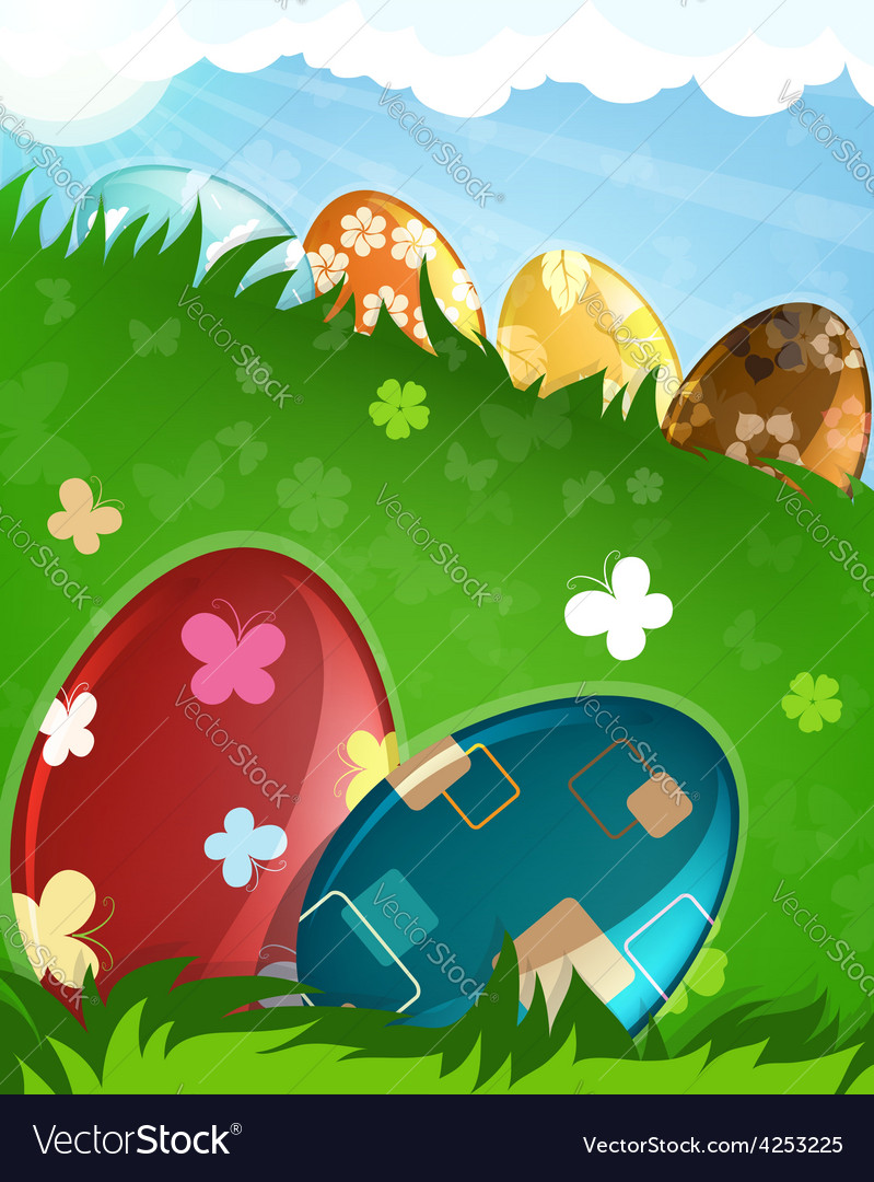 Easter eggs in a grass vector | Price: 3 Credit (USD $3)