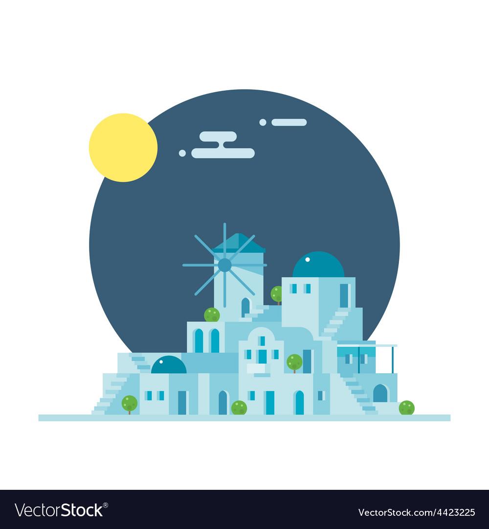 Flat design of santorini greece village vector | Price: 3 Credit (USD $3)