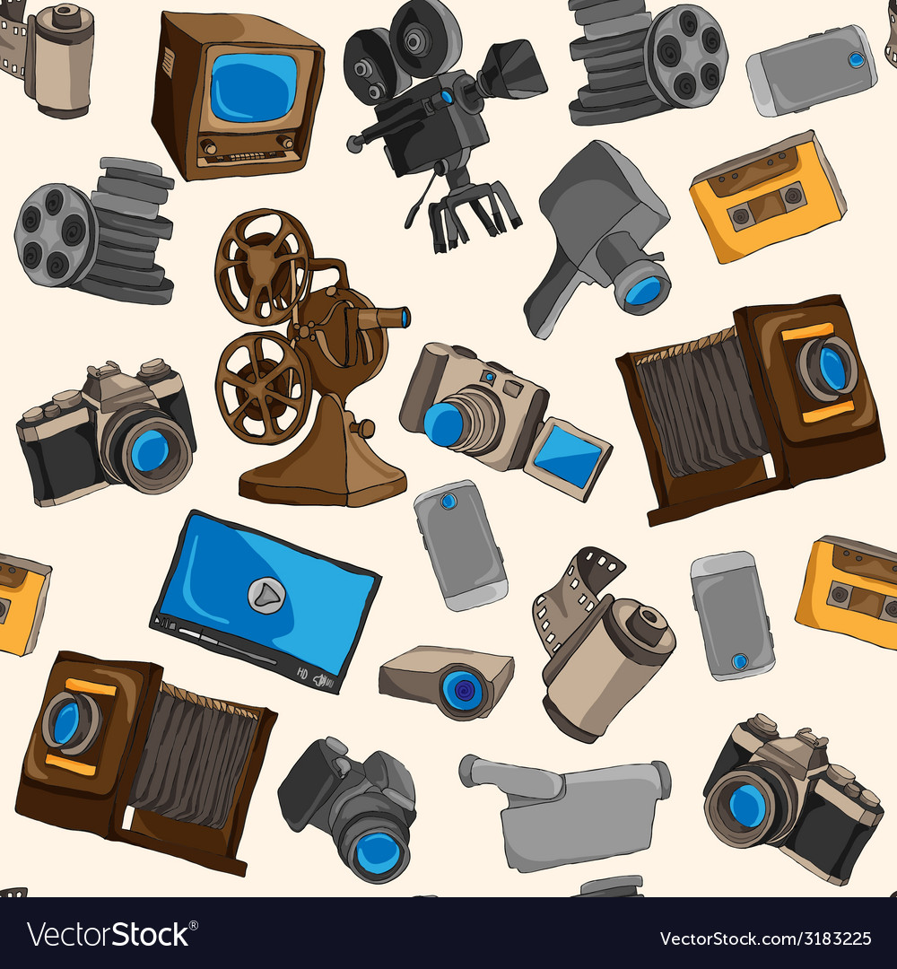 Photo video seamless pattern vector | Price: 1 Credit (USD $1)