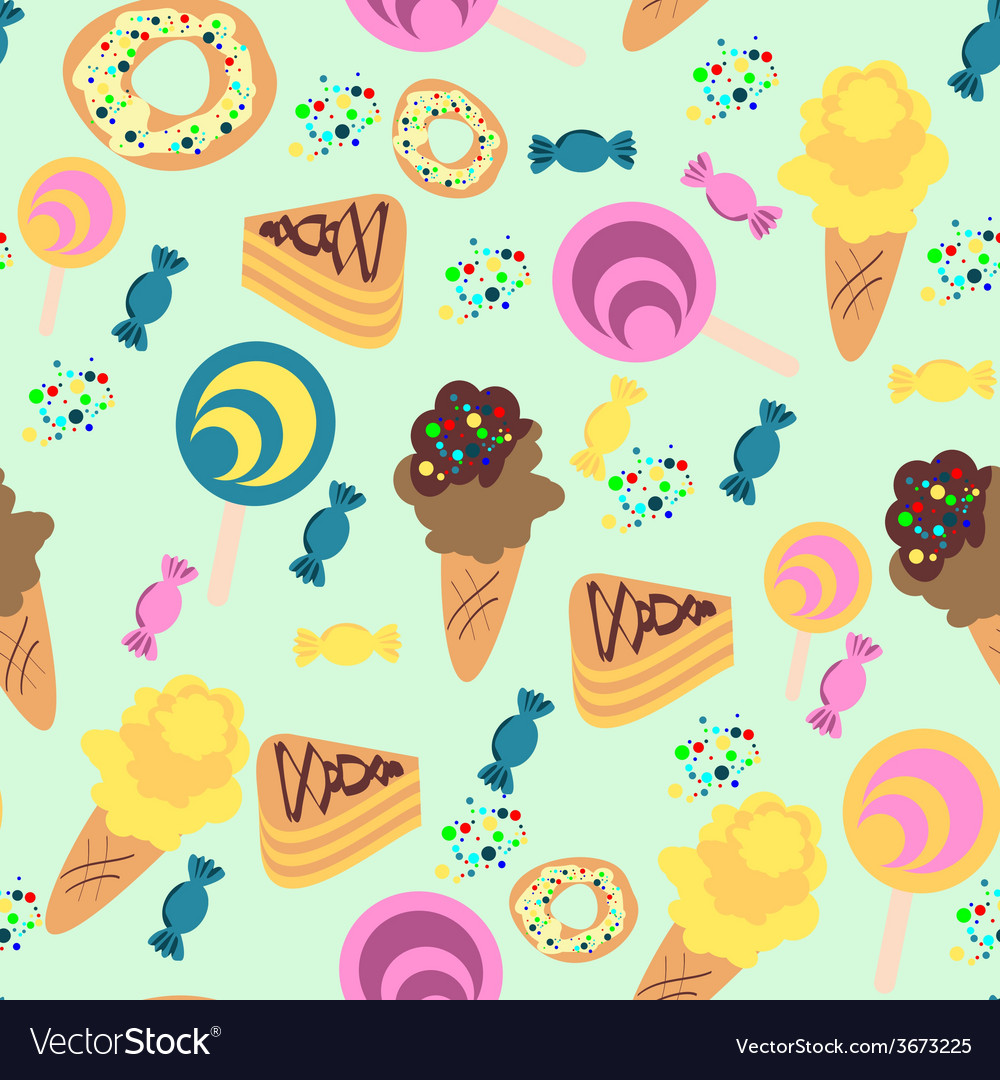 Seamless confection pattern ice-cream candies pies vector | Price: 1 Credit (USD $1)