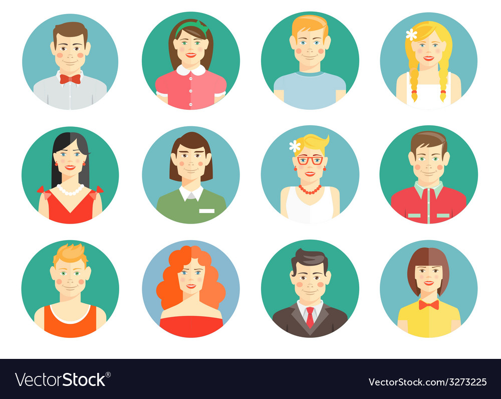 Set of diverse people avatar icons vector | Price: 1 Credit (USD $1)