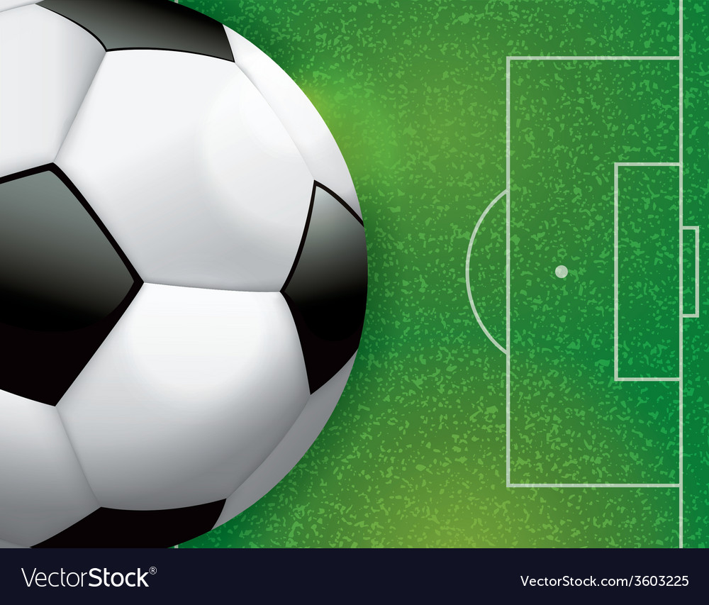 Soccer ball on grass textured field vector | Price: 1 Credit (USD $1)
