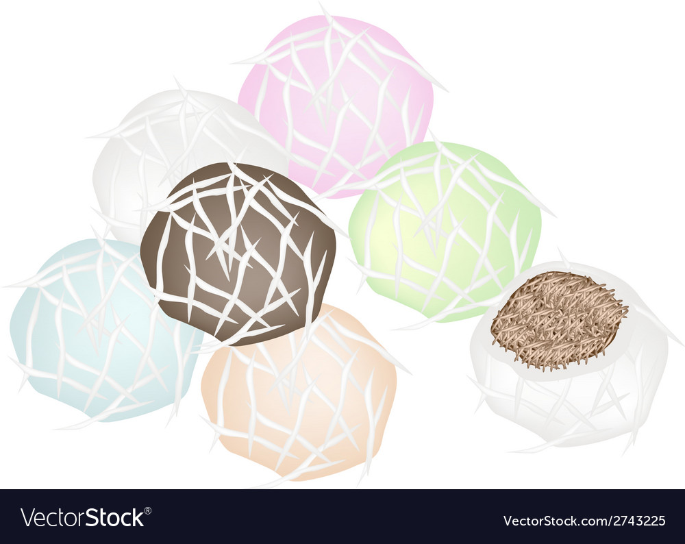 Stack of stuffed coconut ball with sweet coconut vector | Price: 1 Credit (USD $1)