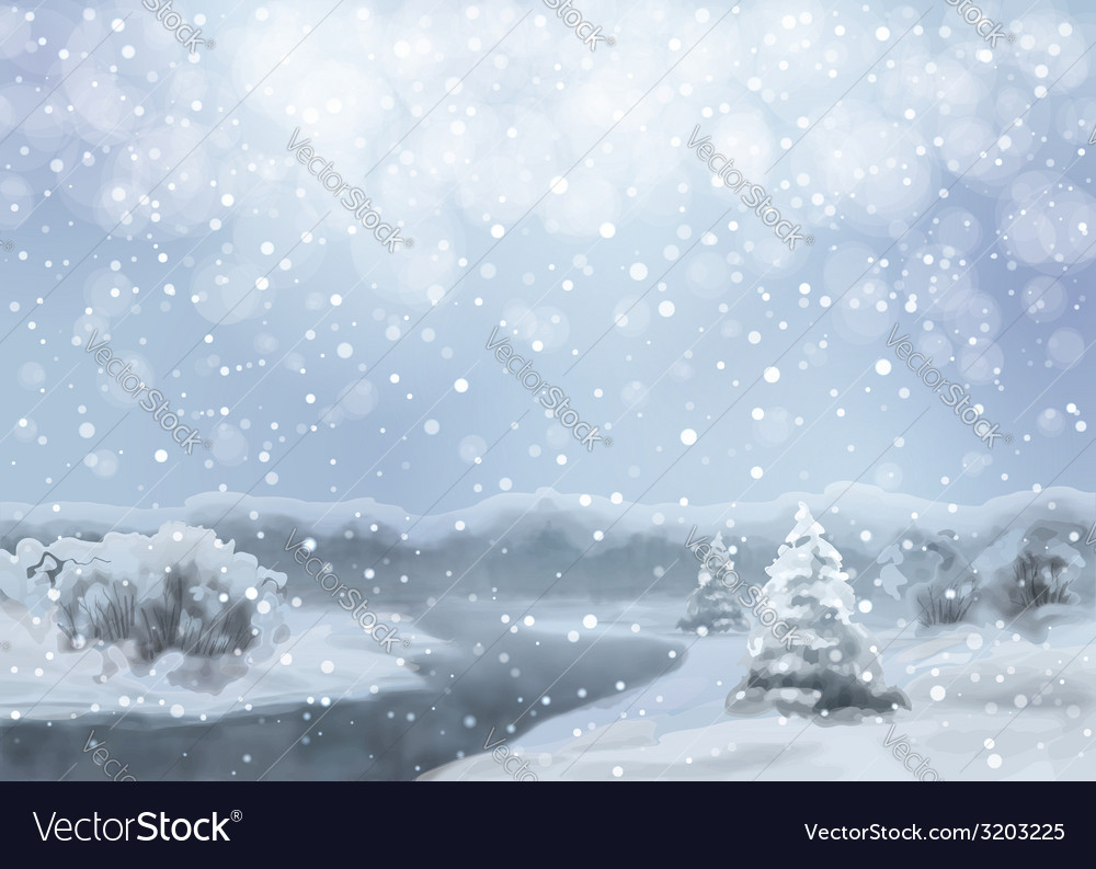 Watercolor snowy landscape vector | Price: 1 Credit (USD $1)