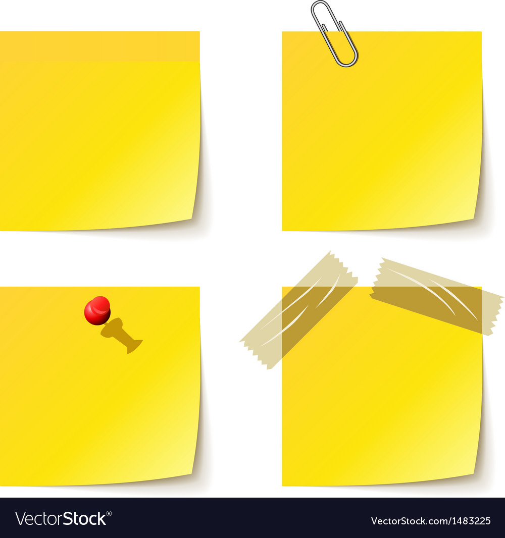 Yellow notice papers isolated on white vector | Price: 1 Credit (USD $1)