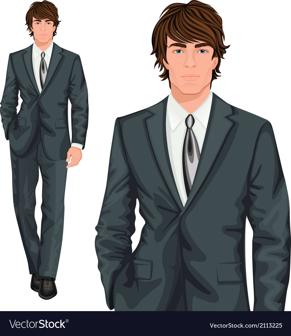Young businessman standing vector | Price: 1 Credit (USD $1)