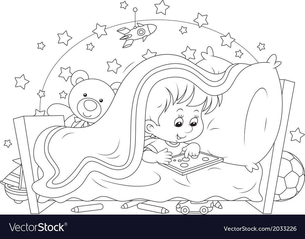Boy playing on a tablet vector | Price: 1 Credit (USD $1)