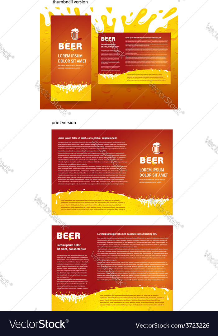 Brochure beer splash vector | Price: 1 Credit (USD $1)