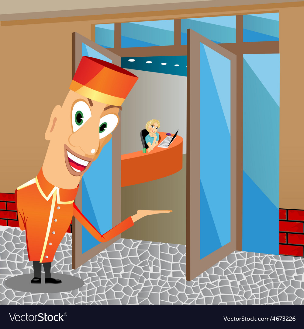 Funny bellhop invites you to come vector | Price: 1 Credit (USD $1)