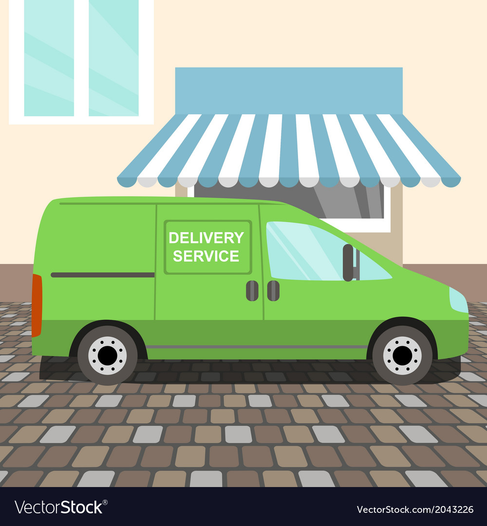 Green delivery van vector | Price: 1 Credit (USD $1)
