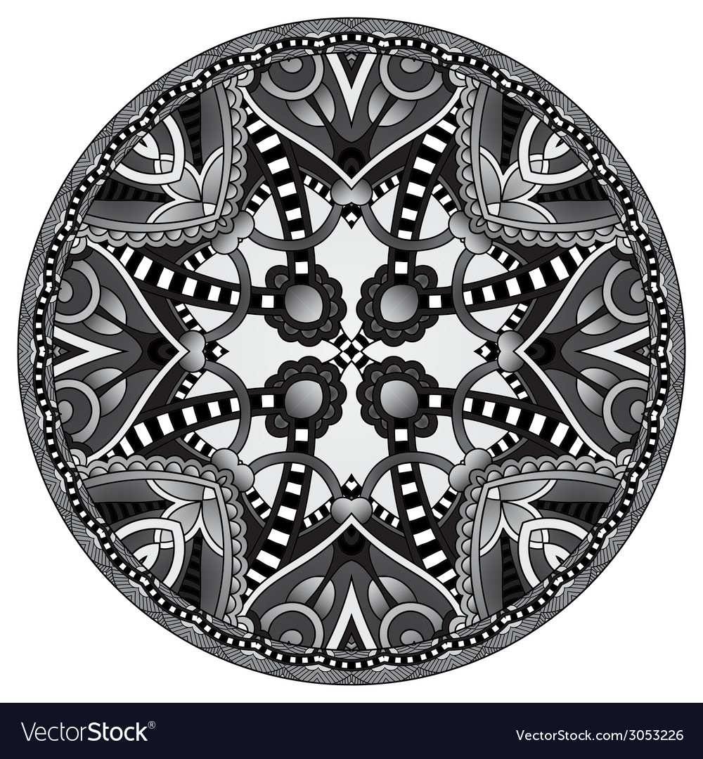 Grey decorative design of circle dish template vector | Price: 1 Credit (USD $1)
