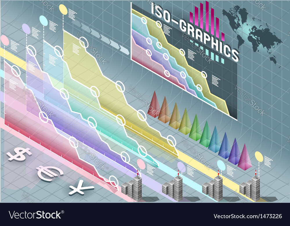 Isometric infographic set elements with vector | Price: 1 Credit (USD $1)