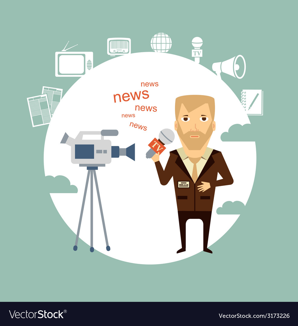 Journalist said on camera vector | Price: 1 Credit (USD $1)