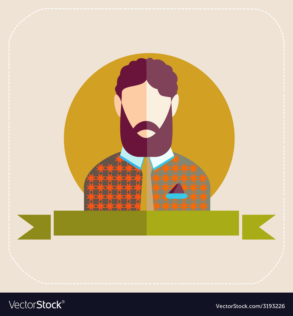 Male avatars in flat style bearded man vector   Price: 1 Credit (USD $1)