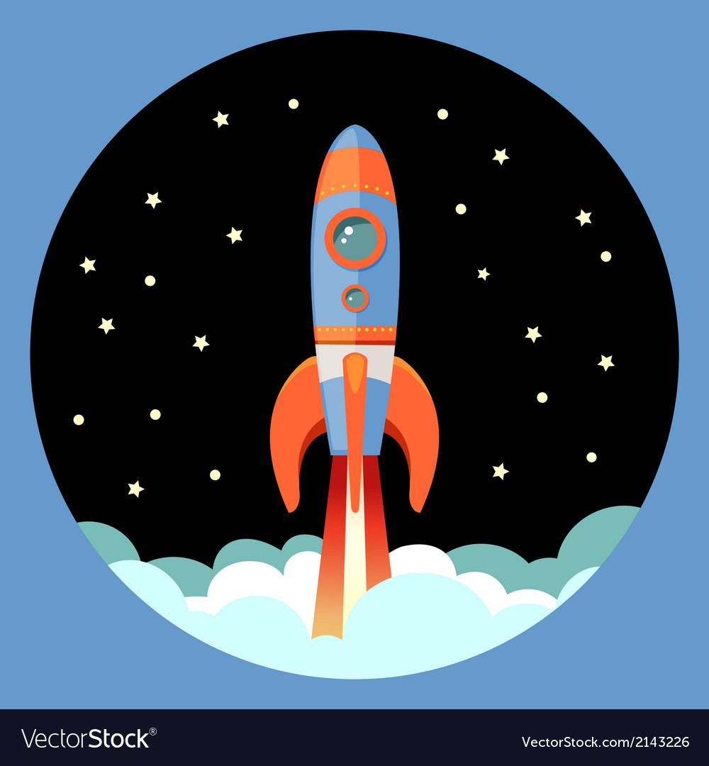 Rocket start emblem vector | Price: 1 Credit (USD $1)