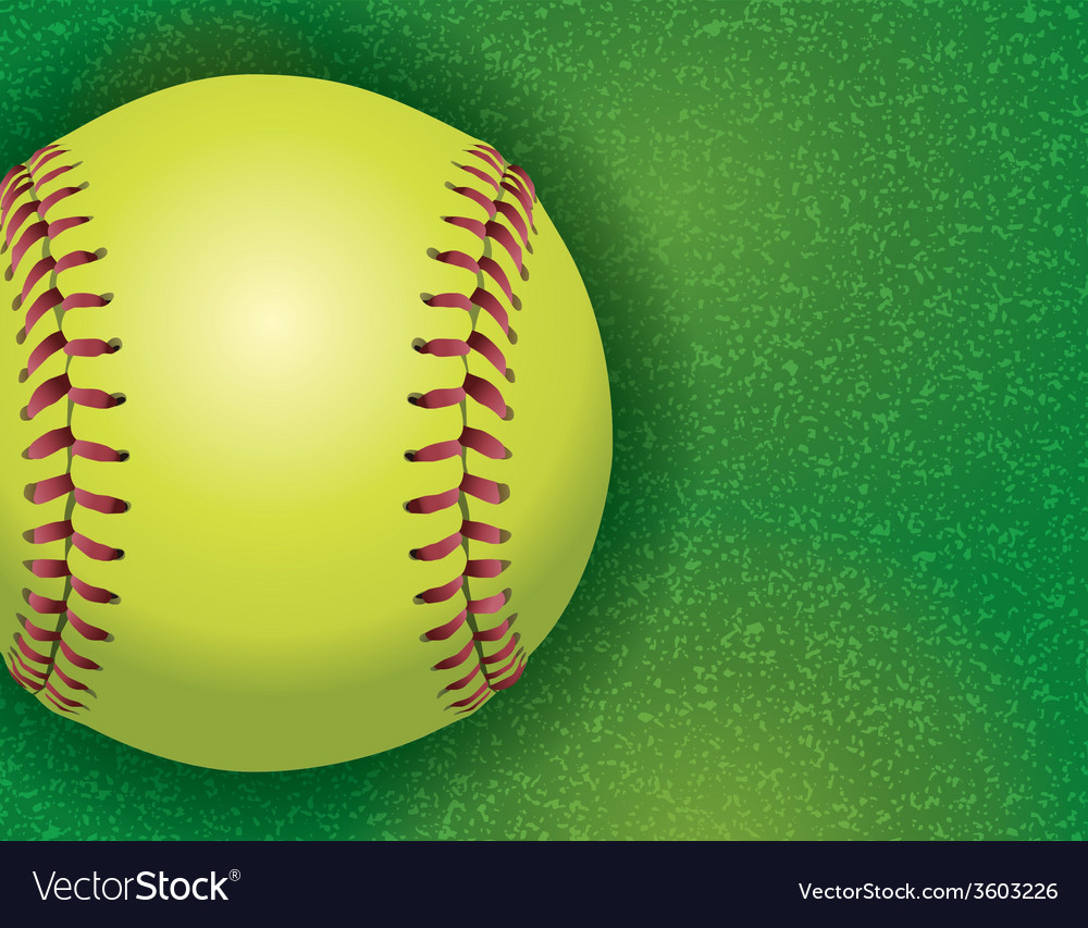 Softball on grass textured field vector | Price: 1 Credit (USD $1)