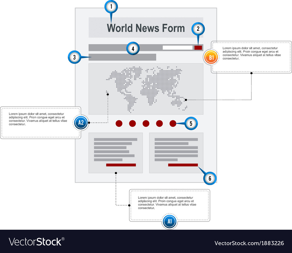 World news web page wireframe structure prototype vector | Price: 1 Credit (USD $1)