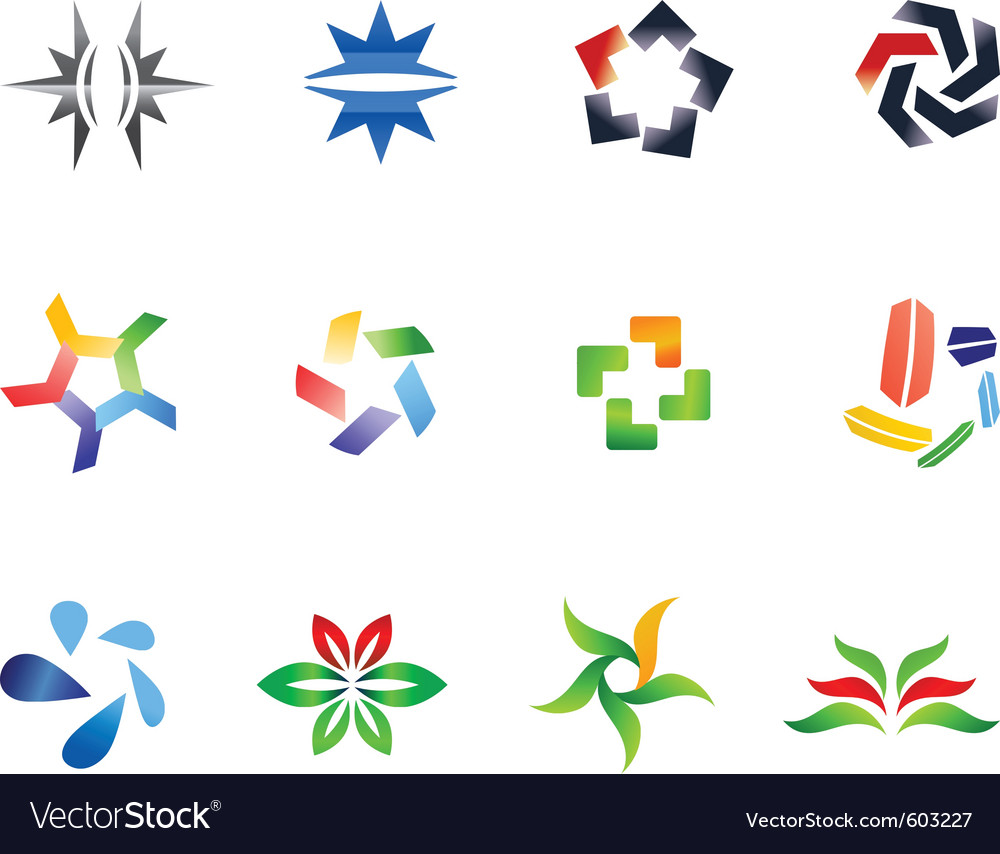 12 colorful symbols set 4 vector | Price: 1 Credit (USD $1)