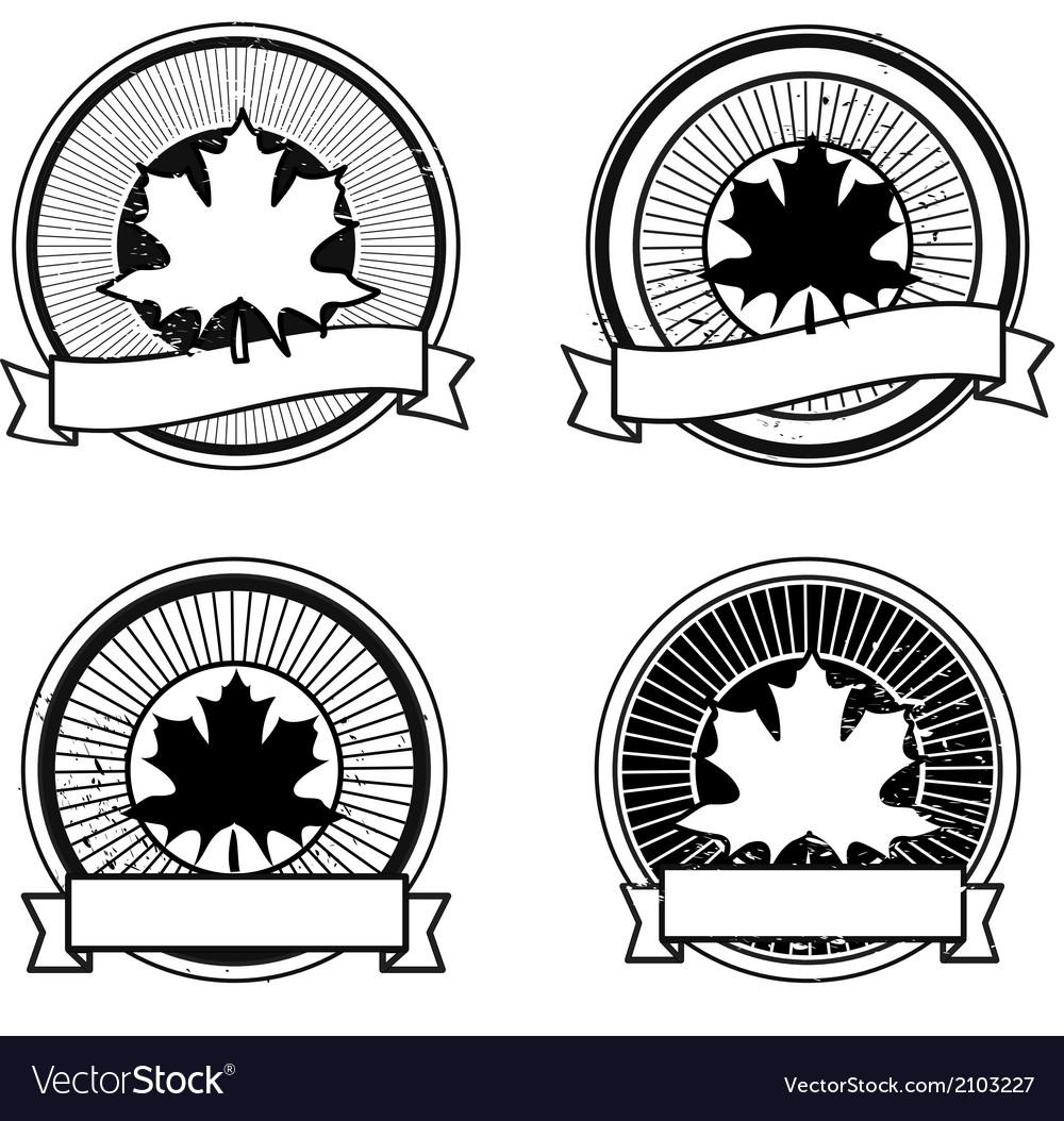 Autumn leaf badge vector | Price: 1 Credit (USD $1)