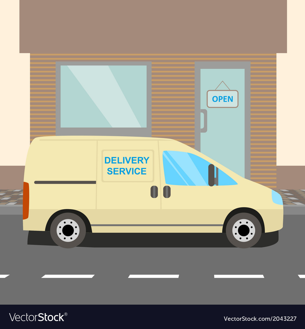 Beige delivery van vector | Price: 1 Credit (USD $1)