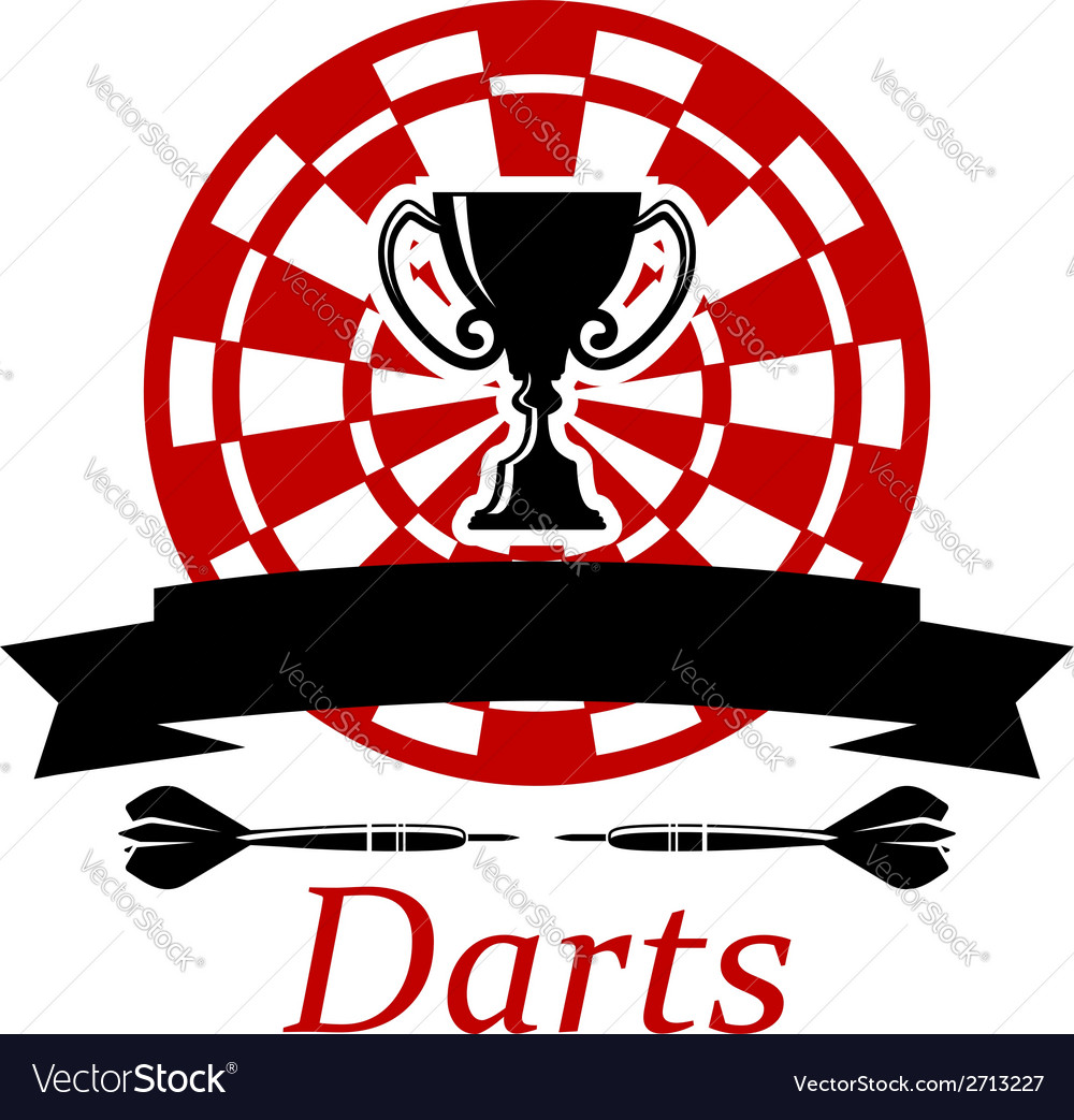Darts emblem with trophy cup vector | Price: 1 Credit (USD $1)