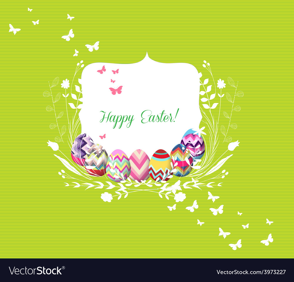 Easter eggs greeting card vector | Price: 1 Credit (USD $1)