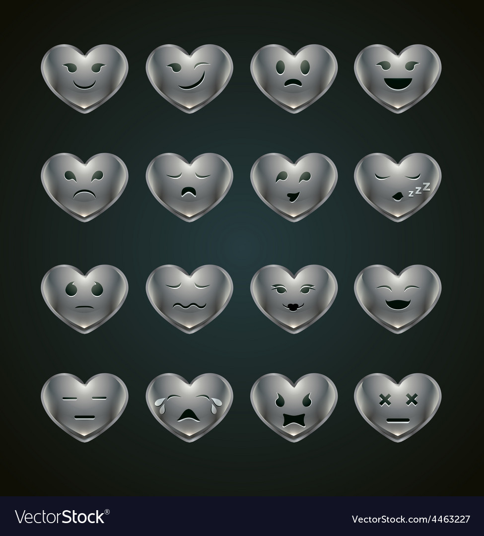 Funny metal heart-shaped emoticons vector | Price: 1 Credit (USD $1)