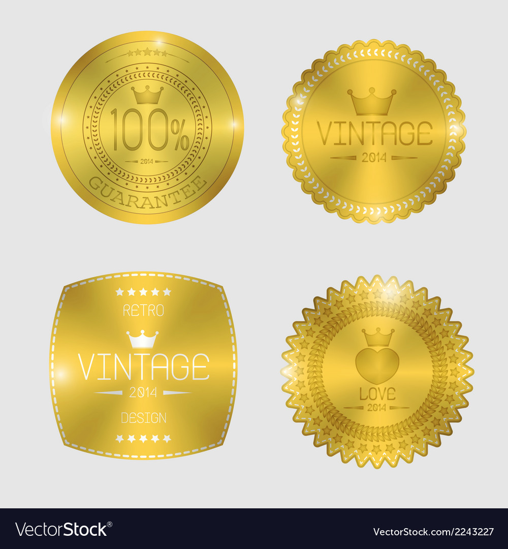 Guarantee of blank round polished gold metal badge vector | Price: 1 Credit (USD $1)