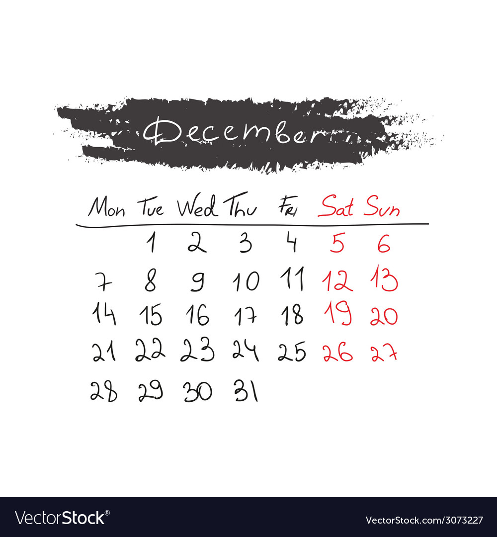 Handdrawn calendar december 2015 vector | Price: 1 Credit (USD $1)
