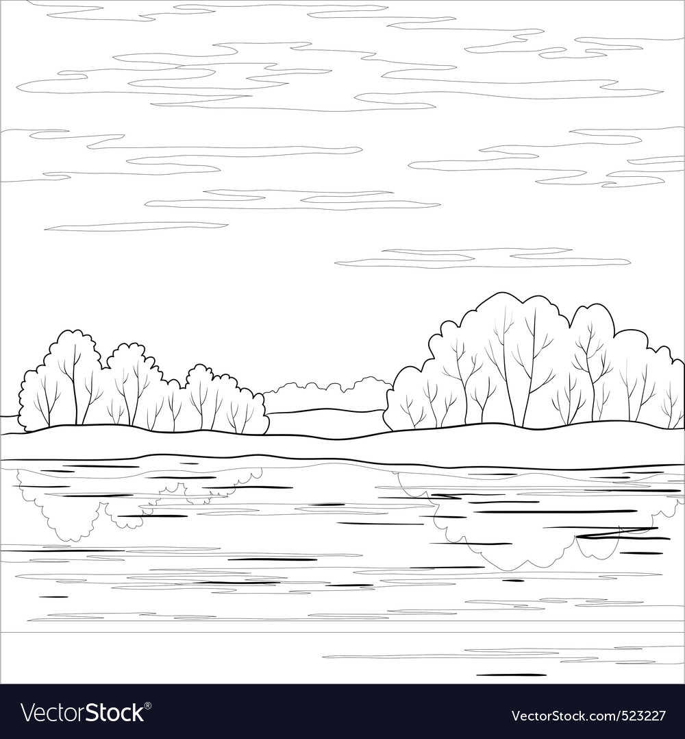 Landscape forest river outline vector | Price: 1 Credit (USD $1)