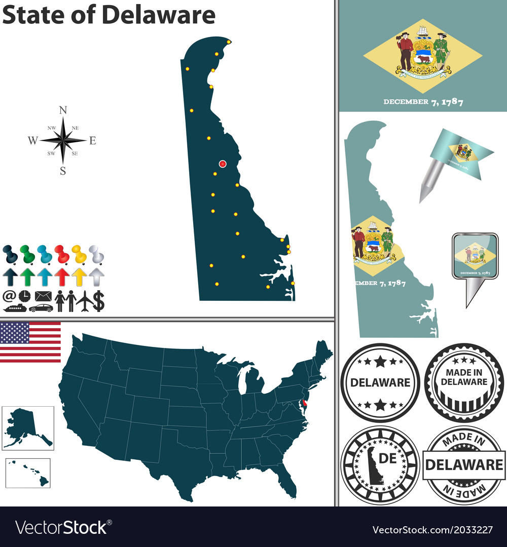 Map of delaware vector | Price: 1 Credit (USD $1)
