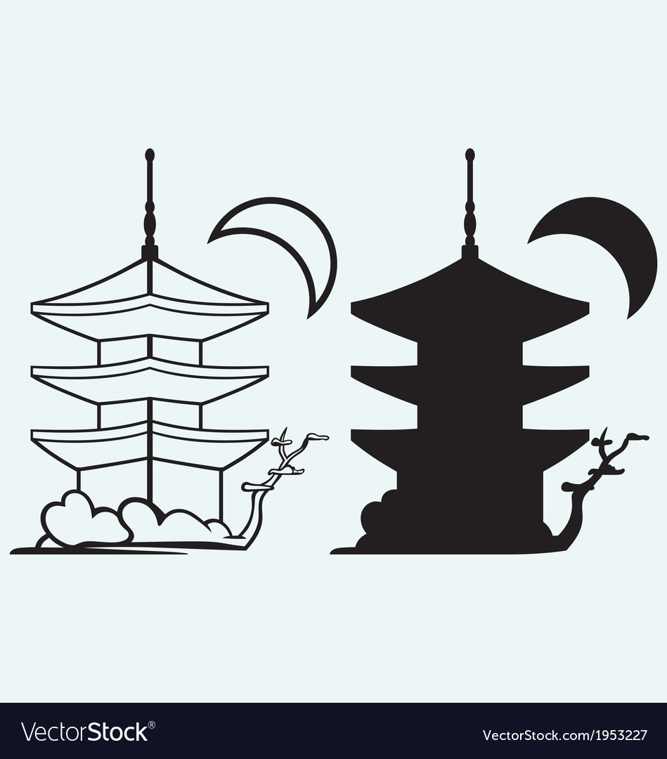 Pagoda japan architecture silhouette vector | Price: 1 Credit (USD $1)