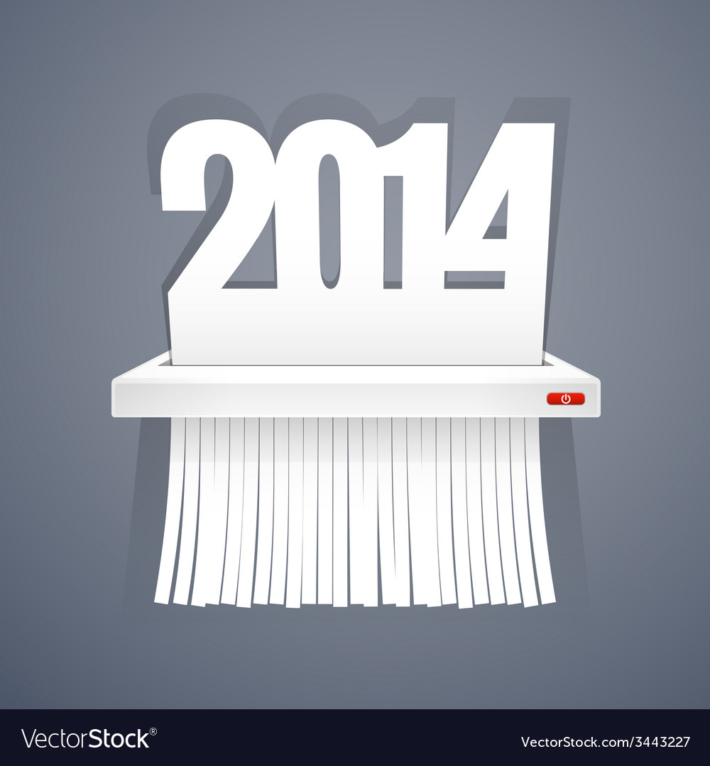 Paper 2014 is cut into shredder on gray vector | Price: 1 Credit (USD $1)