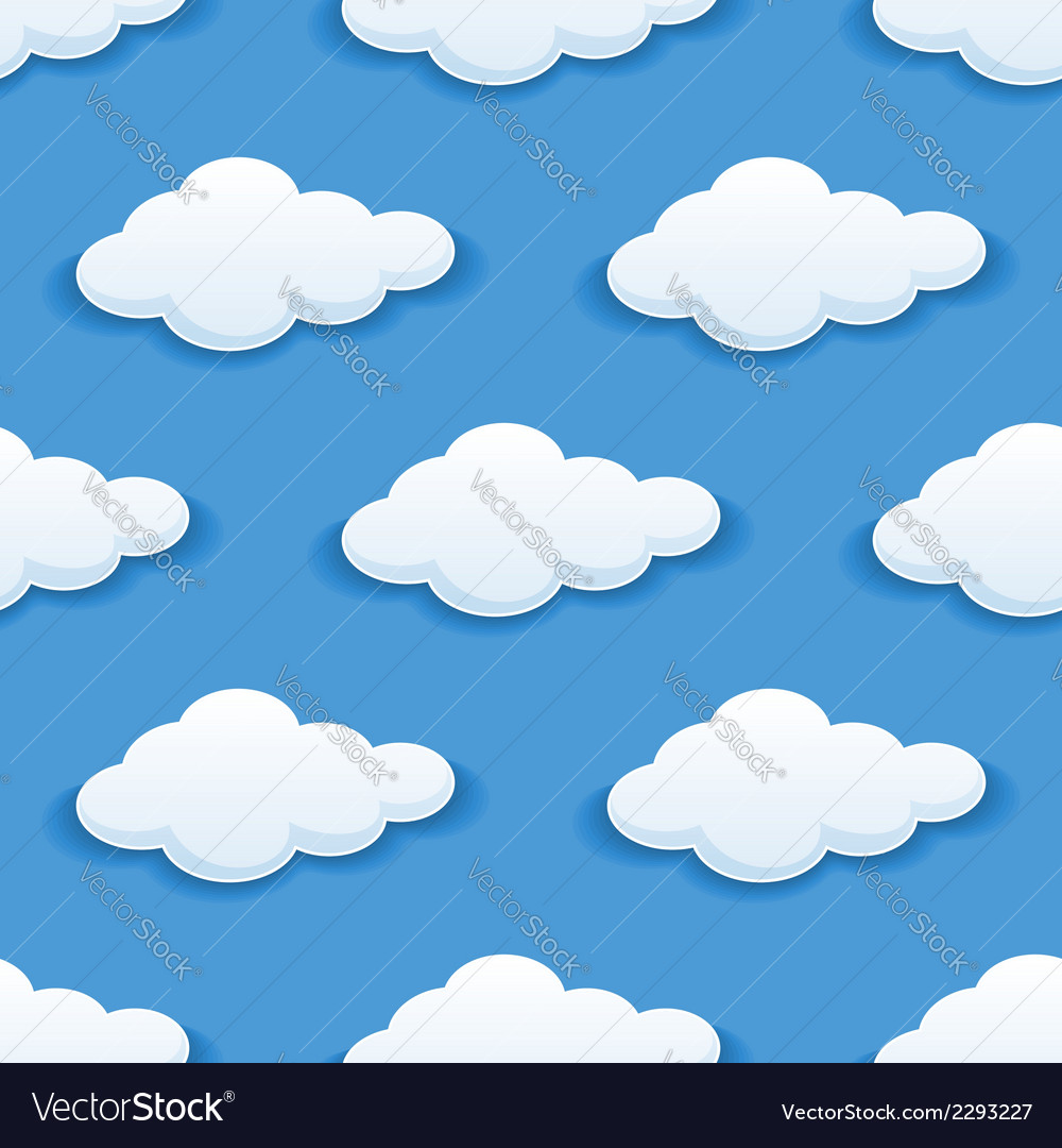 Seamless background with fluffy clouds vector   Price: 1 Credit (USD $1)