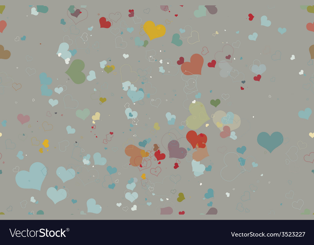 Seamless pattern of hearts on a grey background vector | Price: 1 Credit (USD $1)
