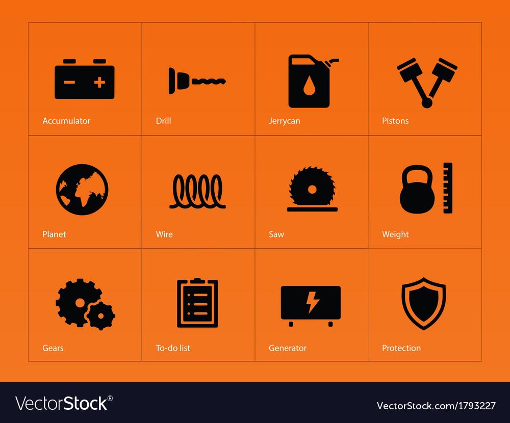 Tools icons on orange background vector | Price: 1 Credit (USD $1)
