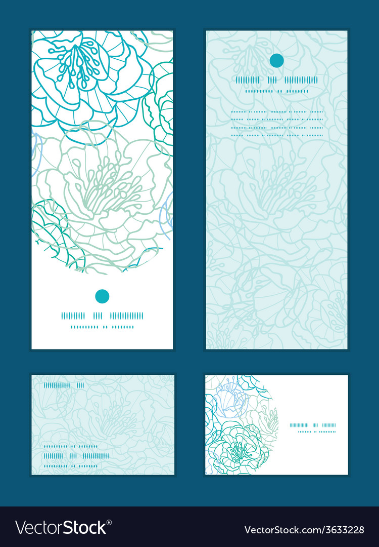 Blue line art flowers vertical frame pattern vector | Price: 1 Credit (USD $1)