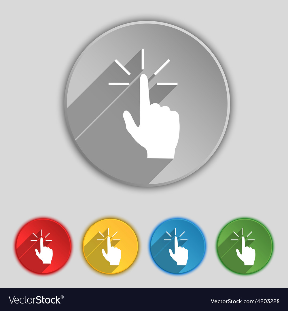 Click here hand icon sign symbol on five flat vector | Price: 1 Credit (USD $1)