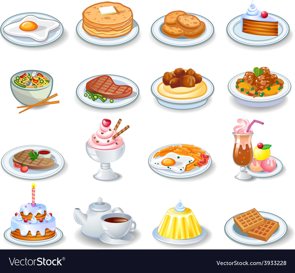Computer icons of various dishes vector | Price: 3 Credit (USD $3)