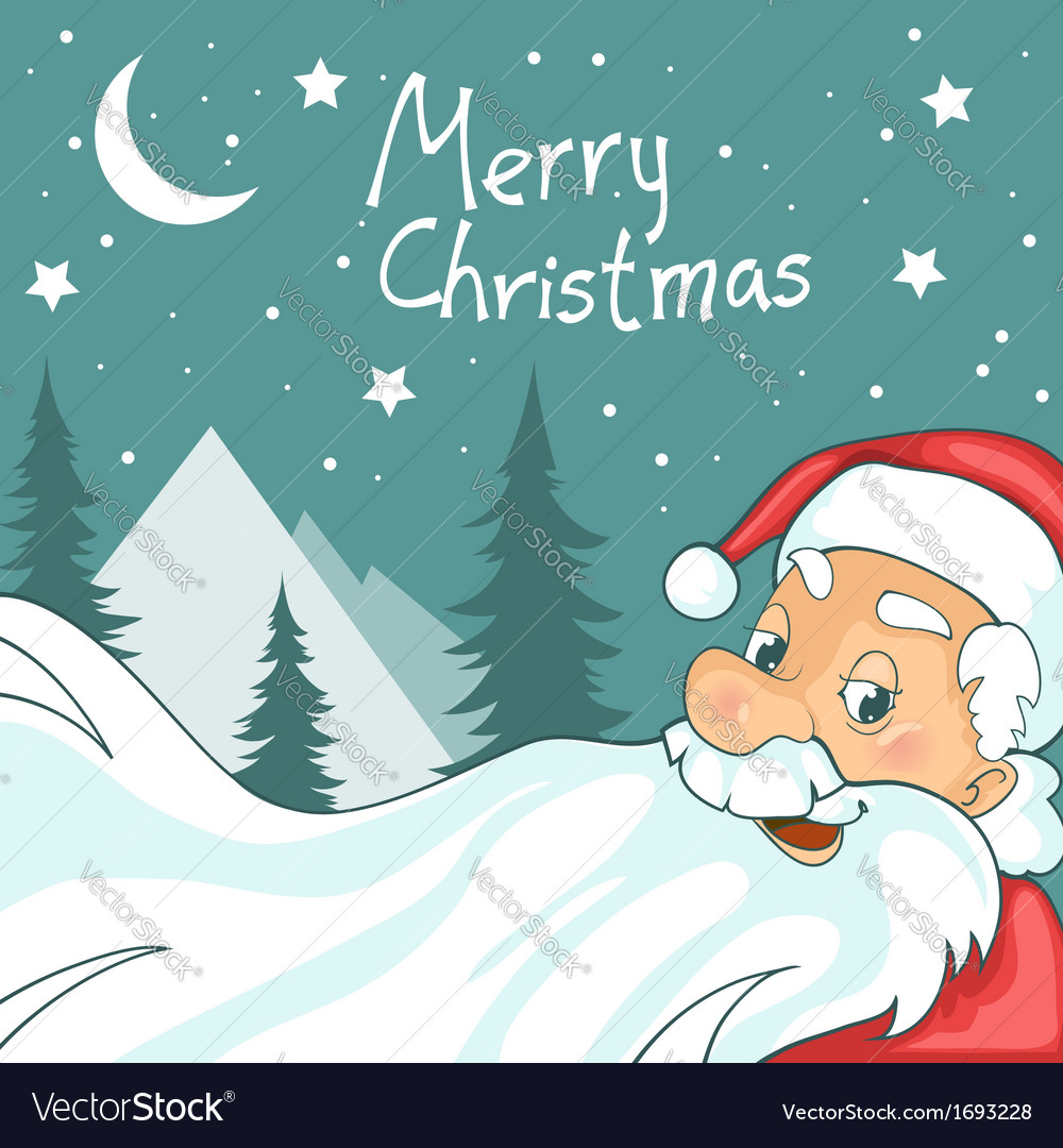 Cute cartoon santa claus on christmas background vector | Price: 1 Credit (USD $1)