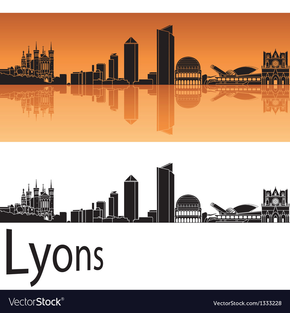 Lyons skyline in orange background vector | Price: 1 Credit (USD $1)