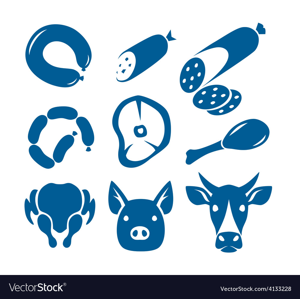 Meat food signs vector | Price: 1 Credit (USD $1)