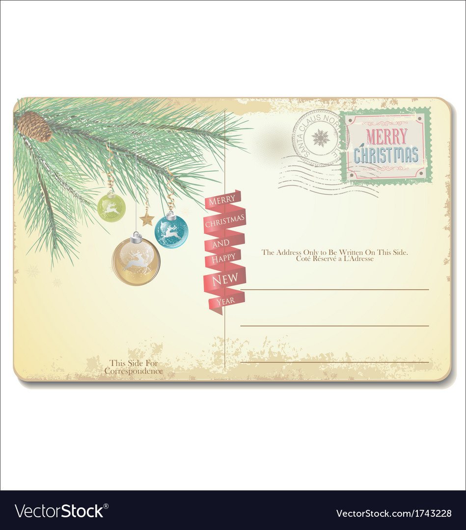 Old christmas card vector | Price: 1 Credit (USD $1)