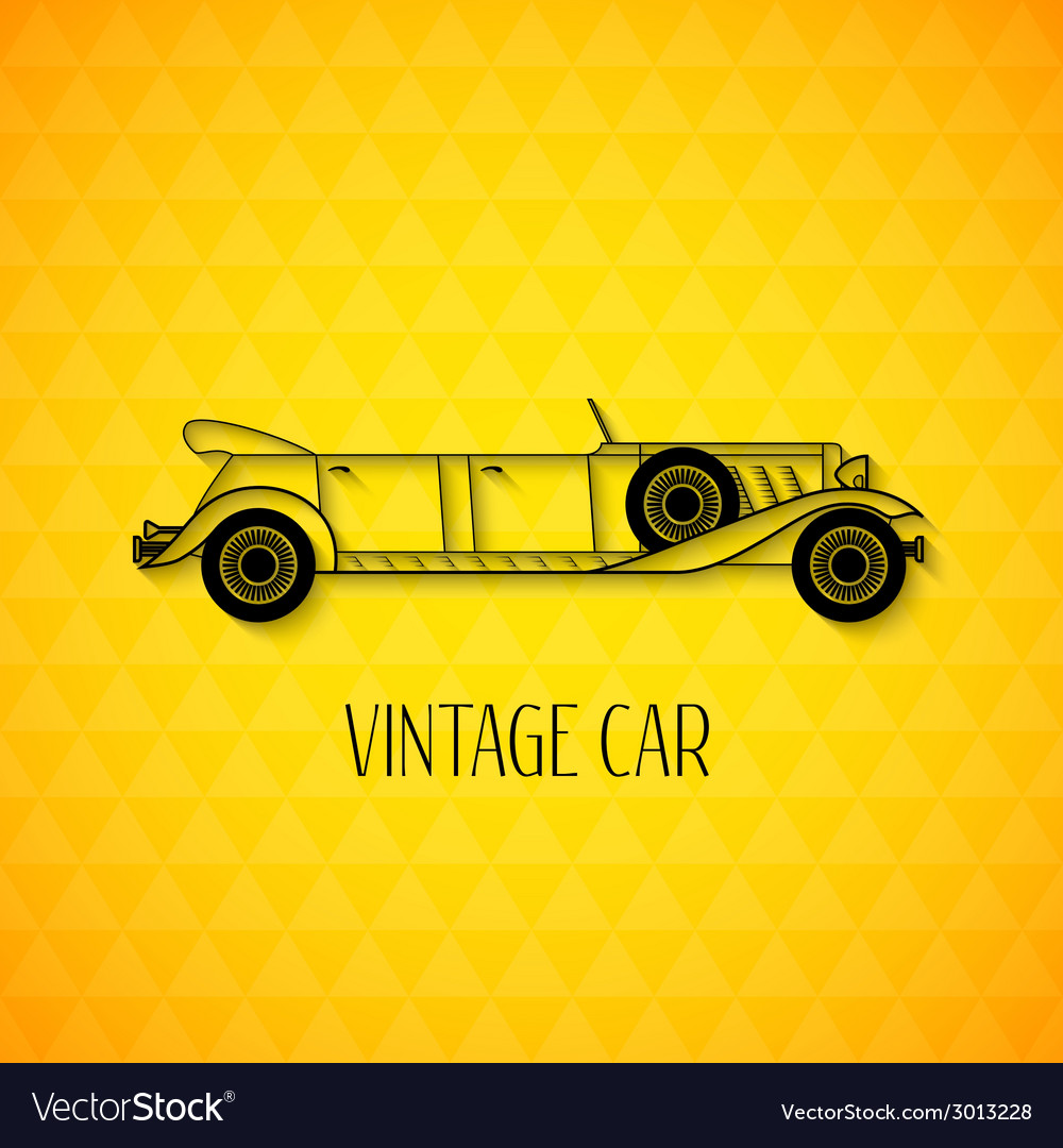 Retro limousine cabriolet car vintage outline vector | Price: 1 Credit (USD $1)