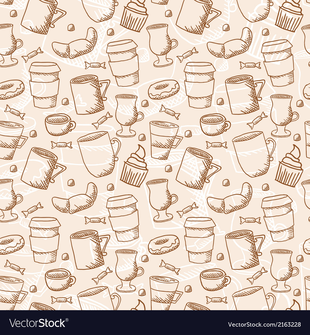 Seamless sketchy doodle style coffee cups and mugs vector | Price: 1 Credit (USD $1)