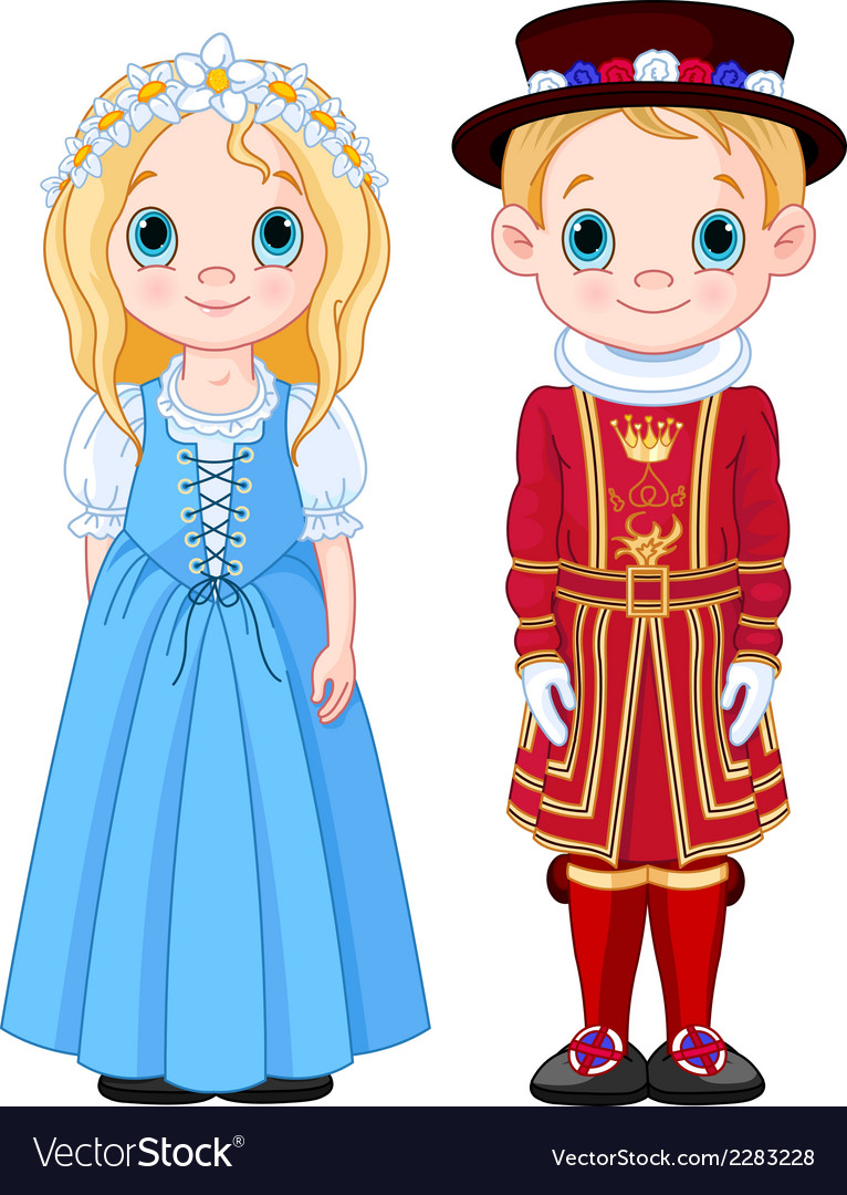 Uk boy and girl vector | Price: 3 Credit (USD $3)