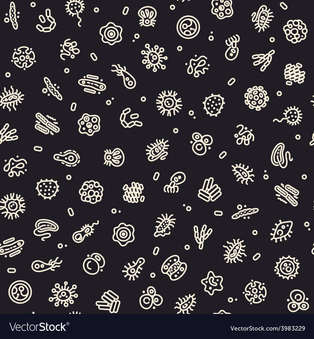 Dark seamless pattern with bacteria and germs vector