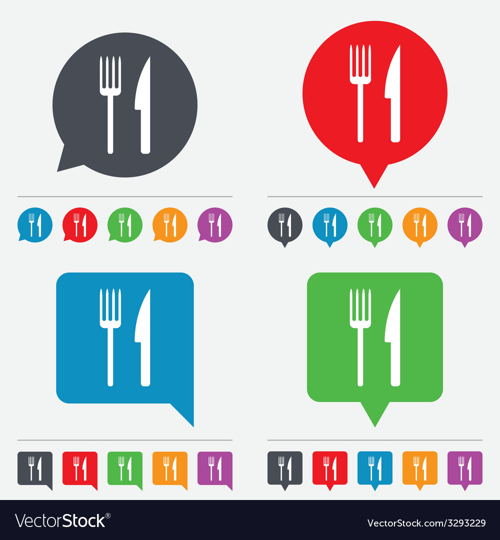 Eat sign icon cutlery symbol fork and knife vector | Price: 1 Credit (USD $1)